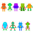 set of colored robots in cartoon style vector image vector image