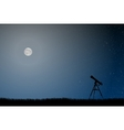 silhouette a telescope starry sky vector image vector image