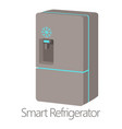 smart refrigerator icon cartoon style vector image