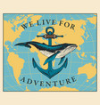 travel banner with whale anchor and world map vector image