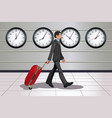 traveling businessman vector image vector image