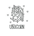unicorn head and hearts sketch icon vector image vector image