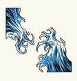 vintage big sea tsunami waves vector image