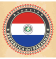 Vintage label cards of Paraguay flag vector image vector image