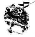 wakeboarding silhouette on abstract background vector image
