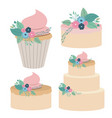 white background with colorful set cakes and vector image vector image