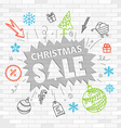 White brick wall and graffiti label Christmas sale vector image vector image