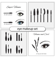 Beautiful eye with makeup accessories vector image