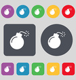 bomb icon sign A set of 12 colored buttons Flat vector image