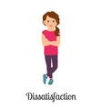 cartoon little girl dissatisfaction feeling vector image