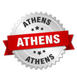 athens round silver badge with red ribbon vector image vector image