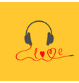 Black and red headphones Love card Music icon vector image vector image