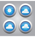 blue metallic buttons set weather forecast icons vector image vector image