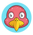 cartoon pink bird with yellow beak on white vector image vector image