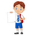 cartoon school boy in uniform holding blank paper vector image