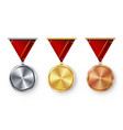champion medals blank set metal realistic vector image vector image
