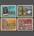 christianity religion bible church and cross vector image