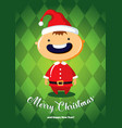 christmas card with boy in santa costume vector image vector image