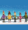 christmas children vector image vector image
