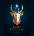 christmas poster with golden low poly deer head vector image