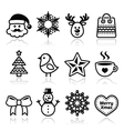 Christmas winter icons set - Santa Claus snowman vector image vector image
