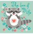 Cute raccoon confesses his love vector image