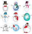 cute snowmen set on white background vector image vector image