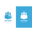 factory logo combination industry symbol vector image