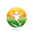 farm leaf plant people success nature logo vector image vector image
