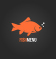 fish logo on dark background vector image vector image