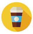 Flat Hot Drink Coffee Cup Circle Icon with Long vector image