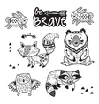 Forest tribal animals set Black and white vector image vector image