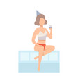 girl sitting on side of pool with glass of vector image vector image