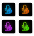 glowing neon microphone and gear icon isolated on vector image vector image