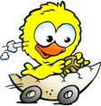 Hand-drawn of an cute baby chicken driving in a vector | Price: 1 Credit (USD $1)