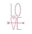 hand stitched love valentine with heart and arrow vector image vector image