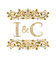 i and c vintage initials logo symbol the letters vector image