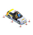 instructor car isometric composition vector image vector image