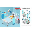 isometric medical treatment concept vector image vector image