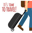 its time to travel man drag baggage background vec vector image vector image