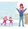 little girls skating on ice rink vector image