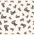 love seamless pattern black and white handwritten vector image vector image