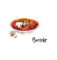 national ukrainian beetroot soup vector image