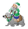 old man riding a polar bear vector image