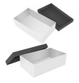 open box white packaging with black lid vector image vector image