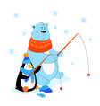 polar bear and penguin ice fishing - flat design vector image vector image