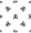 rib cage pattern seamless black vector image vector image