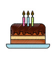 scribble cute birthday cake cartoon vector image vector image