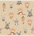 seamless pattern with cute bunny and bear in vector image vector image