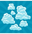 Set of cartoon clouds on sky and rays vector image